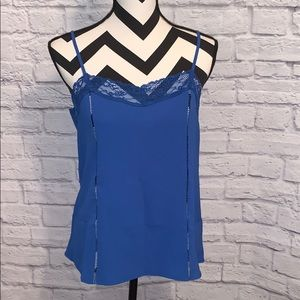 Crescent Blue Lace Accented Tank Top